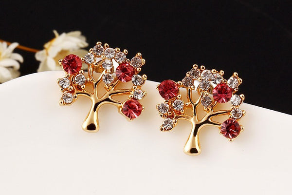 Jeweled Tree of Life Post Earrings - Luna's Warehouse