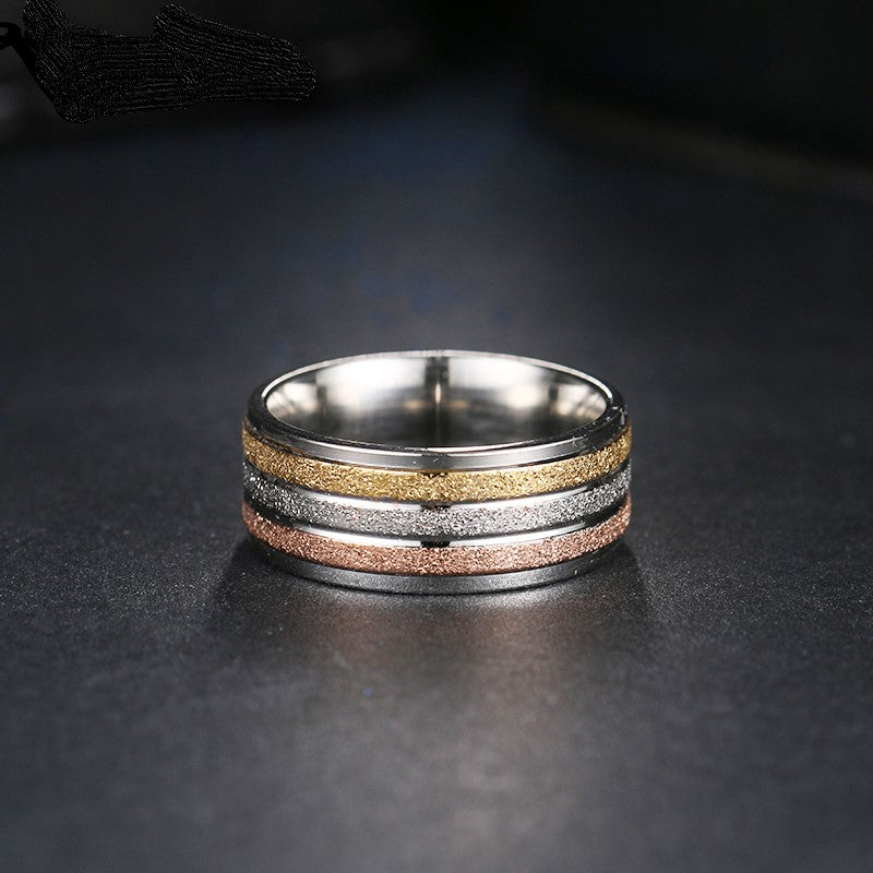 THREE TONE STAINLESS STEEL RING - Luna's Warehouse