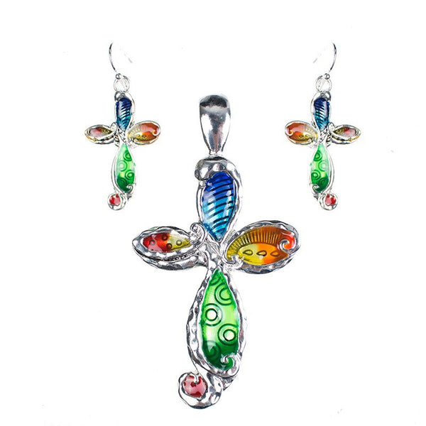 Multi Color Cross Necklace and Earring Set - Luna's Warehouse
