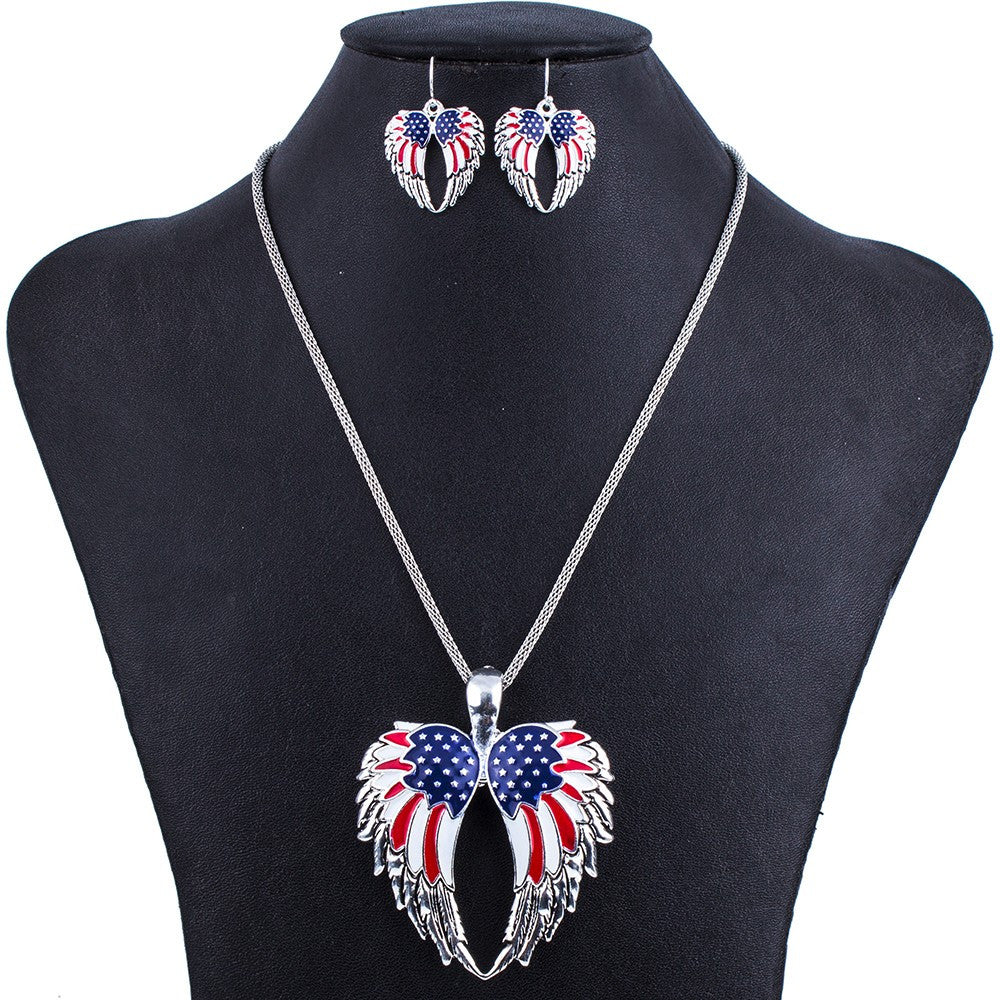 American Flag Eagle Wing Pendant and Earring Set - Luna's Warehouse
