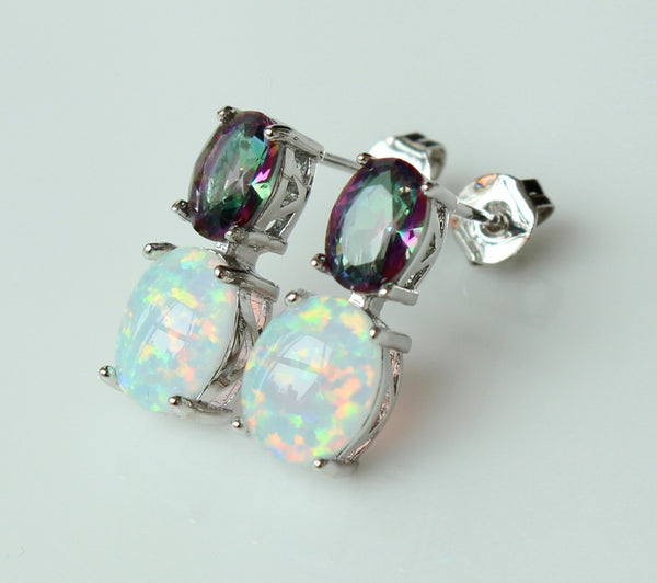Mystic Topaz & Fire Opal Drop Earrings - Luna's Warehouse