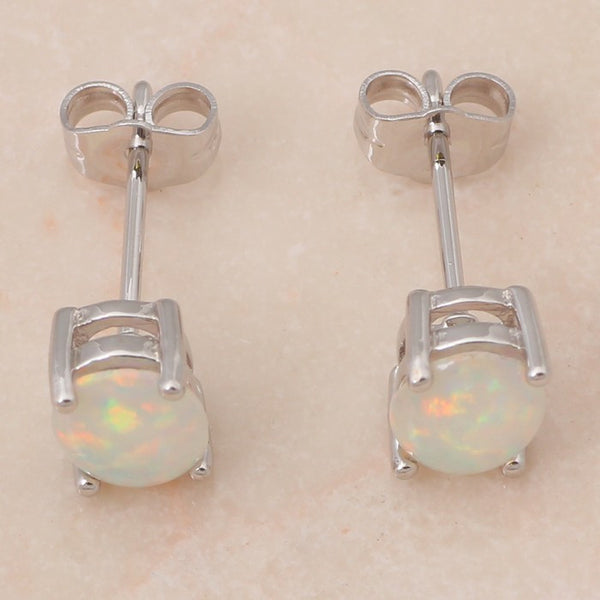 White Opal Post Earrings - Luna's Warehouse