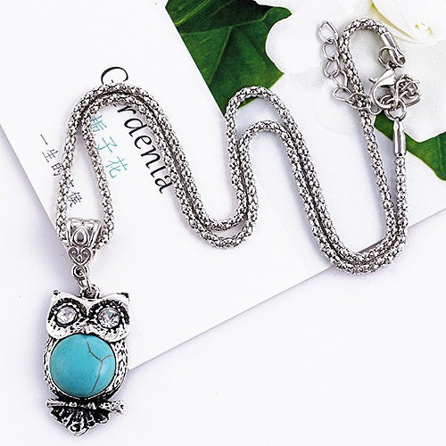 Turquoise Owl Pendant Necklace - Luna's Warehouse