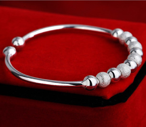 Cuff Silver Ball Bracelet - Luna's Warehouse