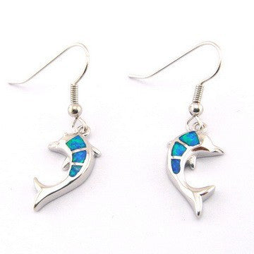 Dolphin Fire Opal Drop Earrings - Luna's Warehouse