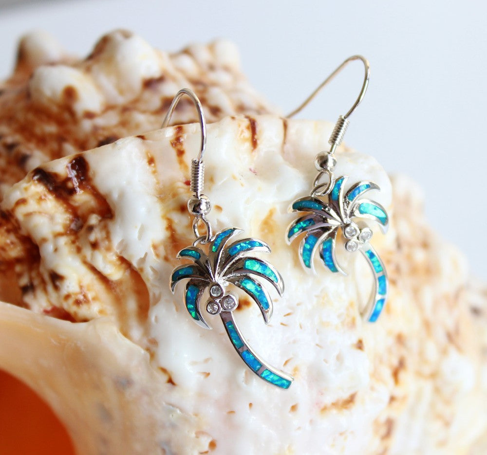 Fire Opal Palm Tree Earrings - Luna's Warehouse