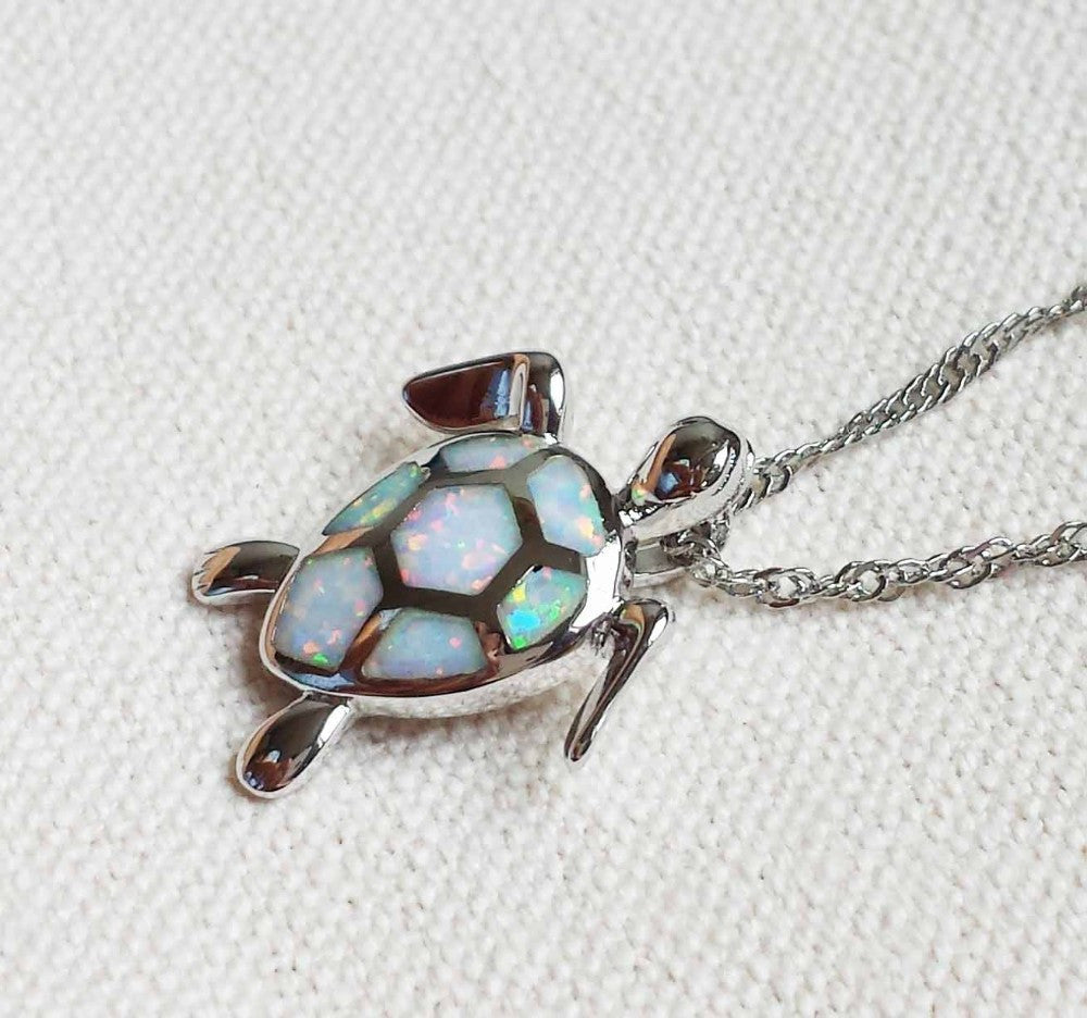 Fire Opal Sea Turtle Pendant - Luna's Warehouse