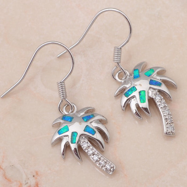 Fire Opal and Rhinestone Palm Tree Earrings - Luna's Warehouse