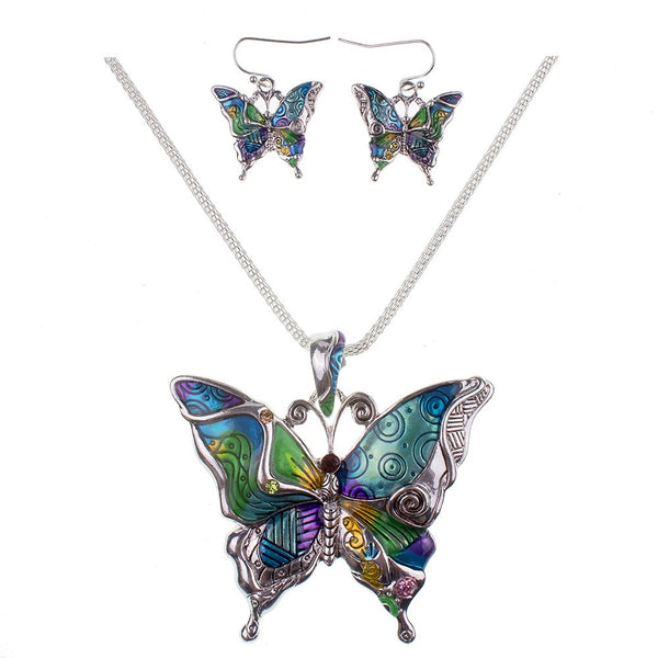 Multi Color Butterfly Necklace and Earring Set - FREE - ONE PER CUSTOMER