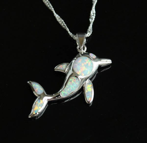 Fire Opal Jumping Dolphin Pendant Necklace - Luna's Warehouse
