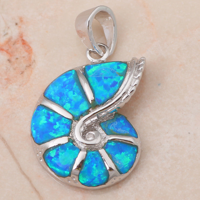 Fire Opal Sea Shell Pendant - Luna's Jewelry Warehouse - 4