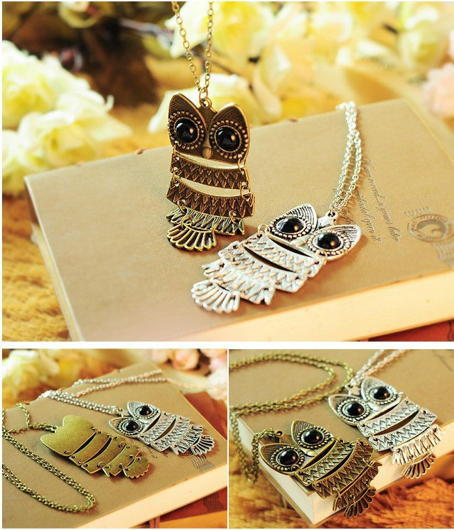 Vintage Owl Pendant Necklace - Luna's Warehouse