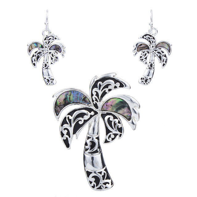 Palm Tree Pendant and Earring Set - Luna's Warehouse