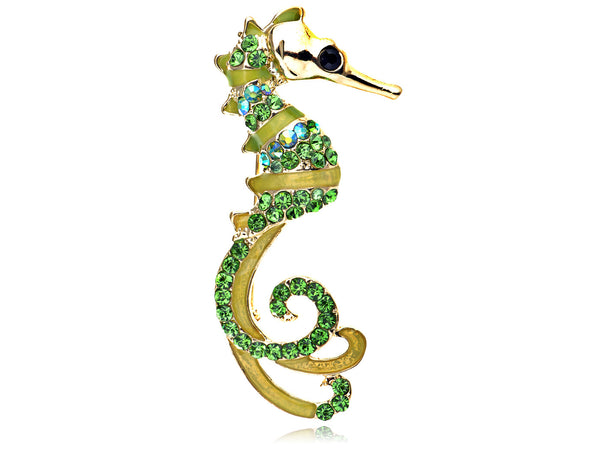 Rhinestone Sea Horse Pin - Luna's Warehouse