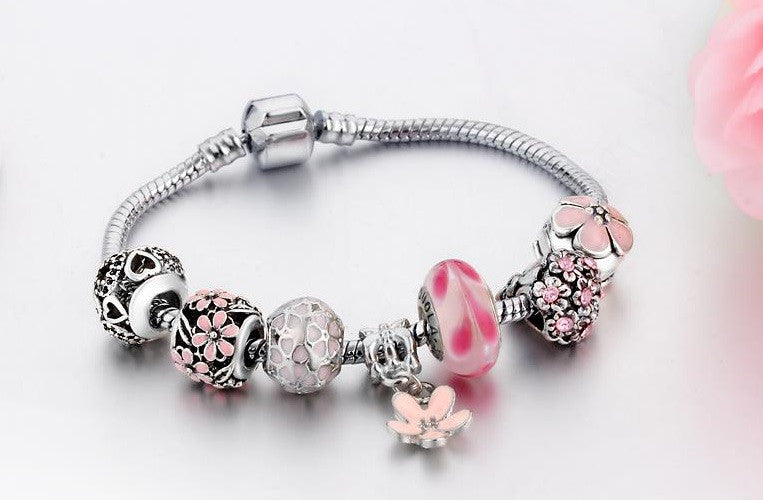 Pink Beaded Flower Bracelet - Luna's Warehouse