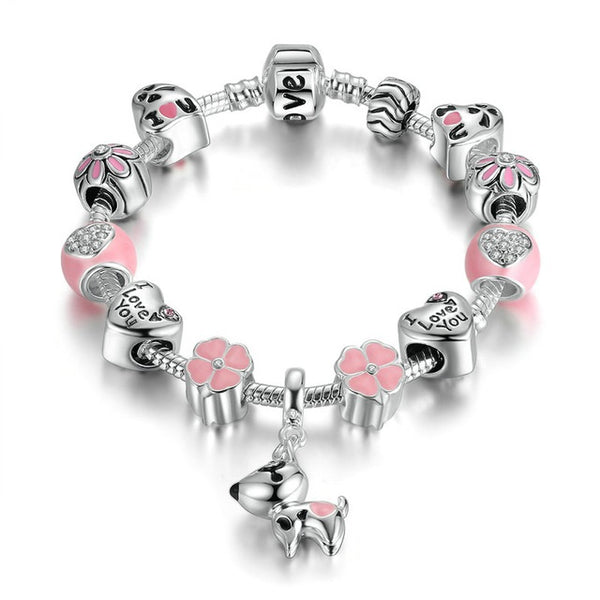 Beaded Dog Charm Bracelet - Luna's Warehouse