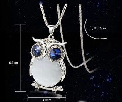 Large Crystal Owl Pendant - Luna's Warehouse