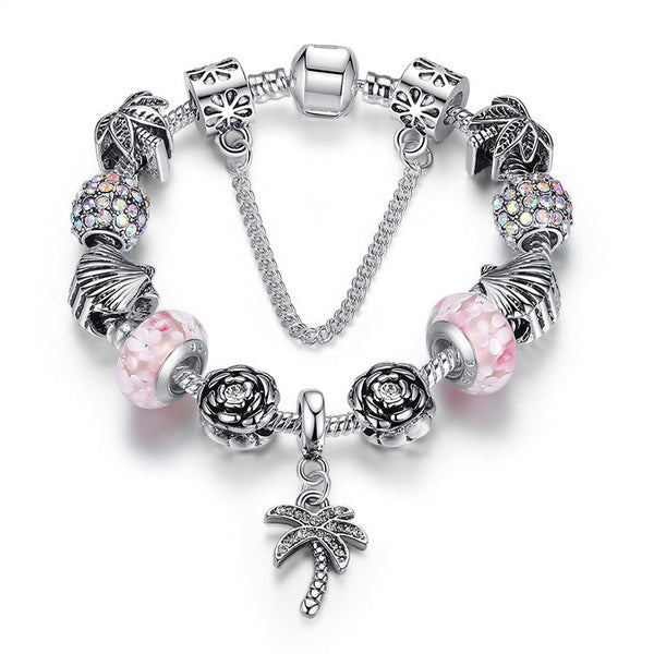 Beaded Palm Charm Bracelet - Luna's Warehouse
