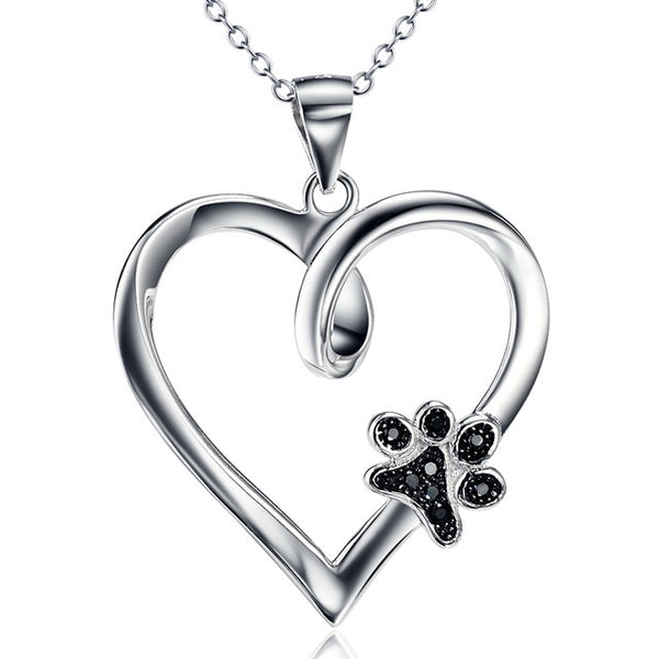 Paw Print Heart Necklace - Luna's Warehouse