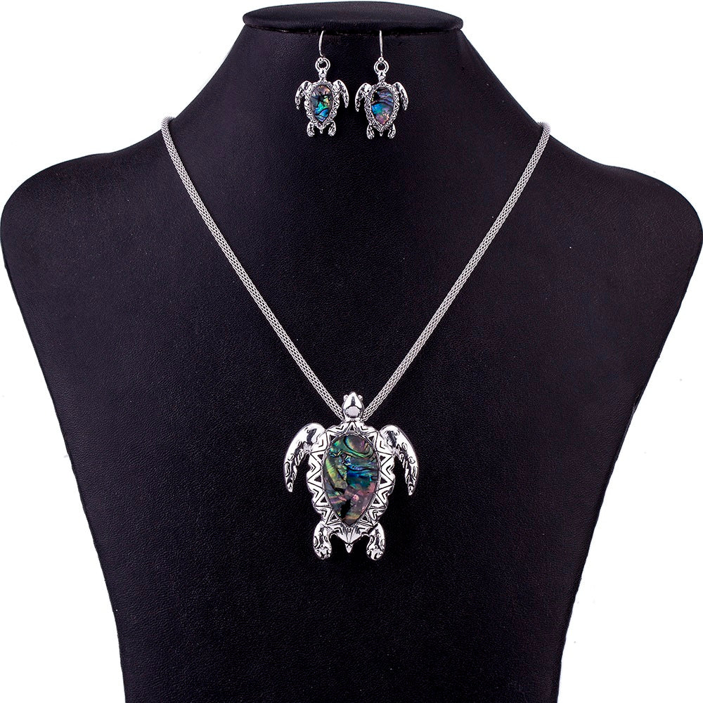 Sea Turtle Necklace and Earring Set - Luna's Warehouse