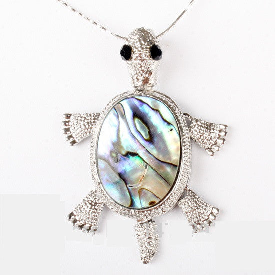 Abalone Turtle Pendant and Earring Set w Swiveling Legs - Luna's Warehouse