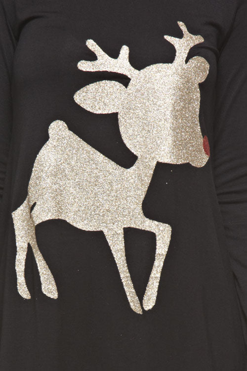Kids Reindeer Top/Tunic - Black