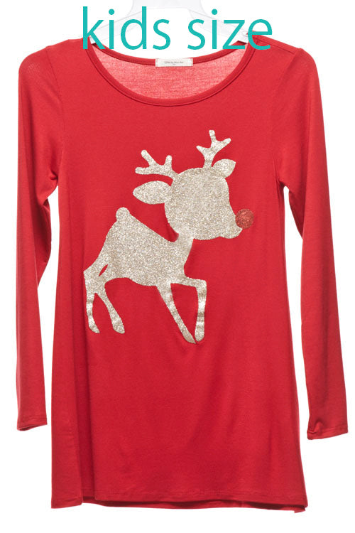 Kids Reindeer Top/Tunic - Red