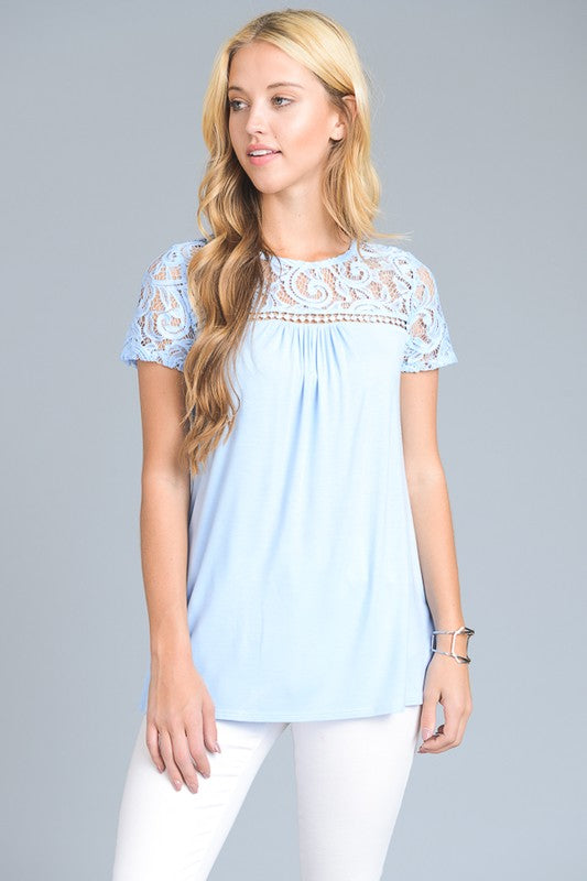 Graceful Lace Top - Baby Blue