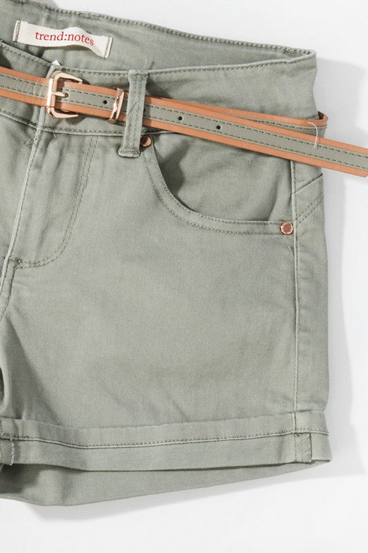 Cotton Twill Light Olive Shorts