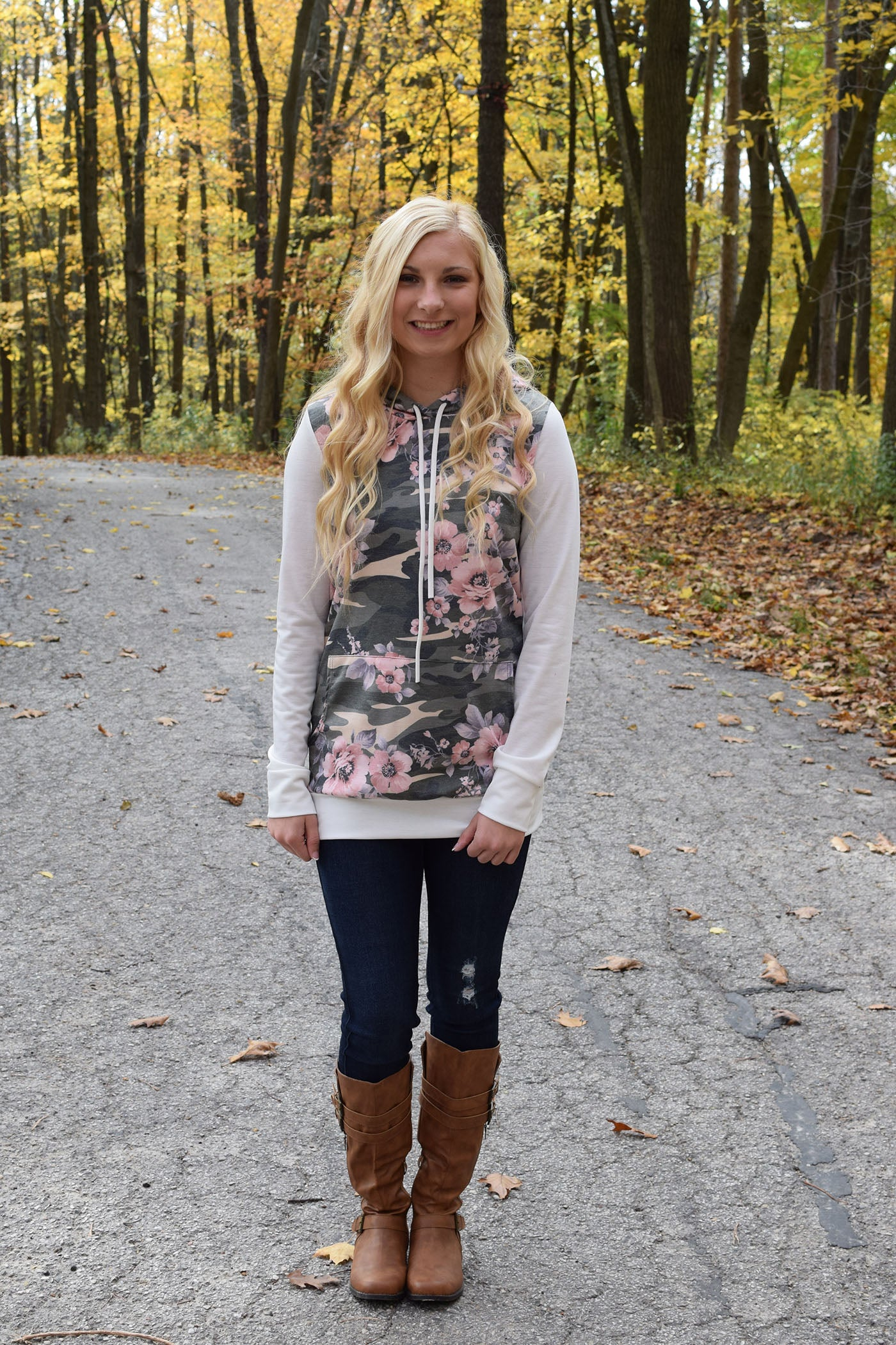 Camo + Floral Obsession Hoodie - White