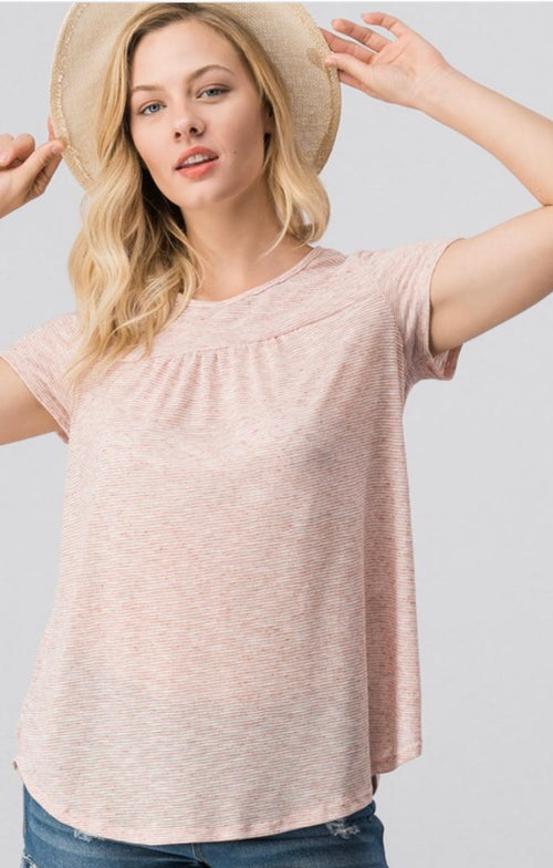Sweet and Simple Pleated Sleeve Top