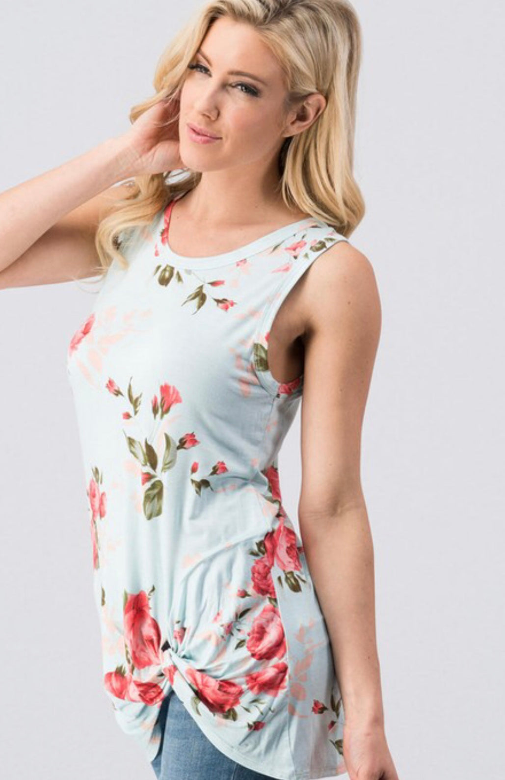 Beauty in Floral Knot Tank - Mint