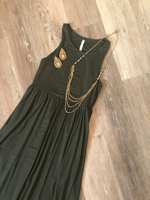 The Perfect Olive Maxi Dress