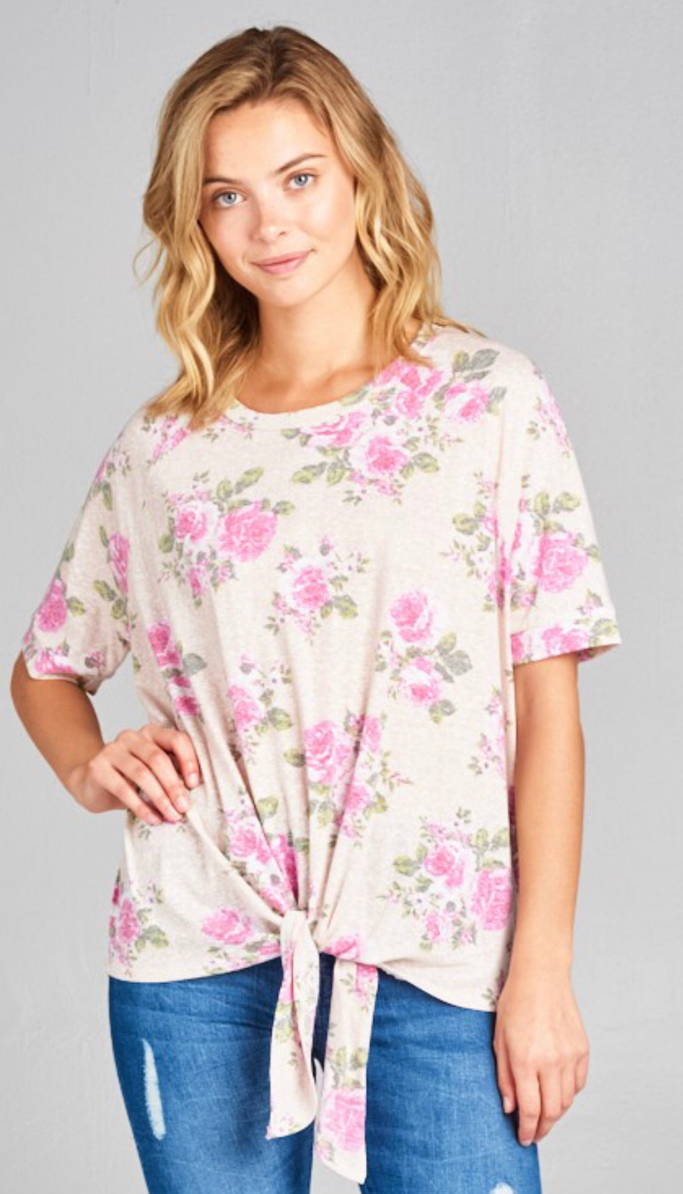 Falling for You Floral Tunic Top- Pink