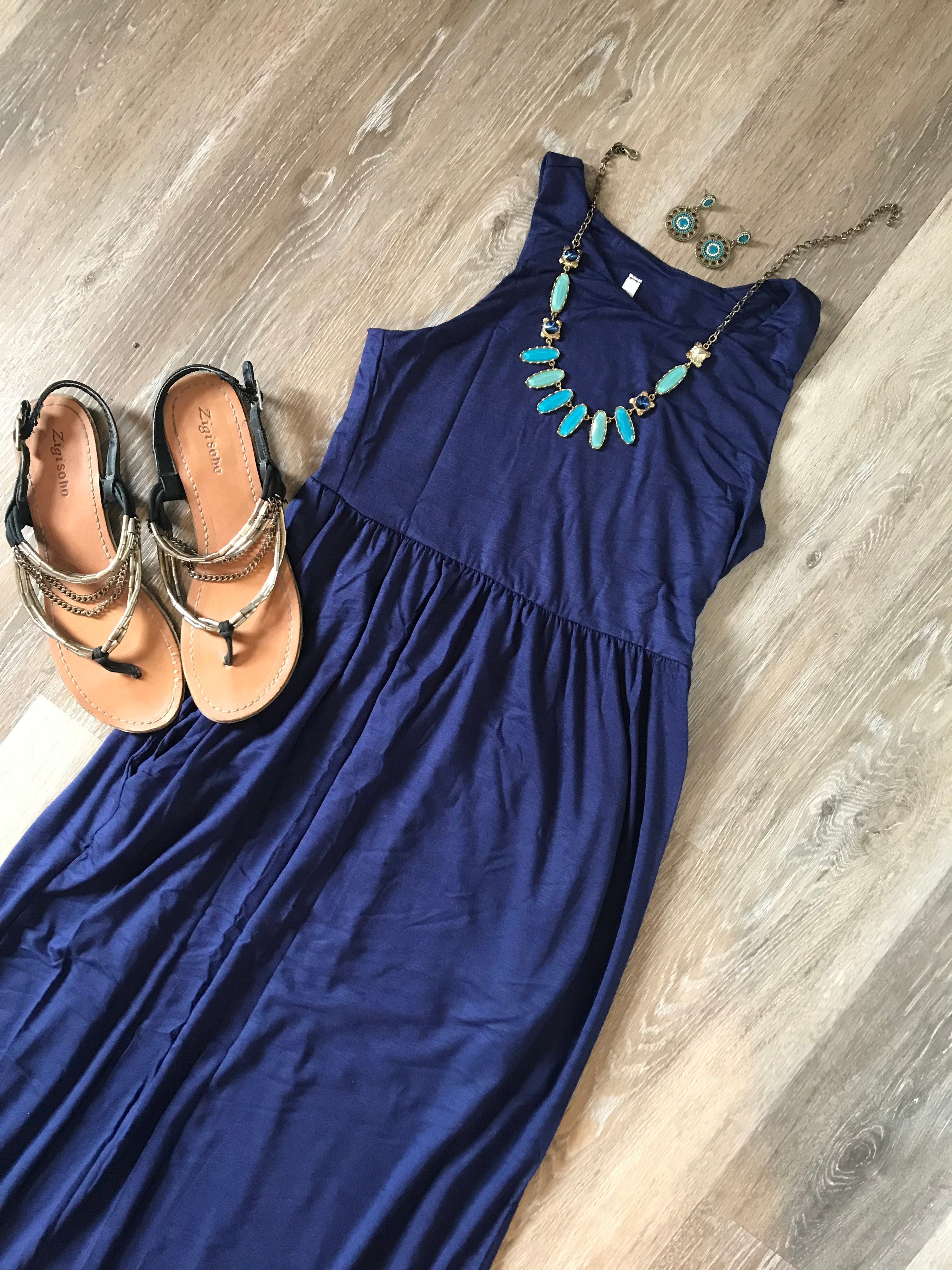 The Perfect Navy Maxi Dress