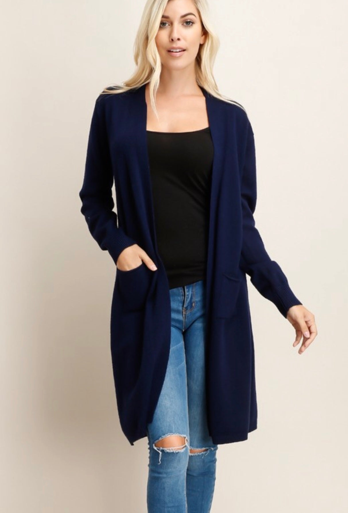 Stay Cozy Cardigan - Navy