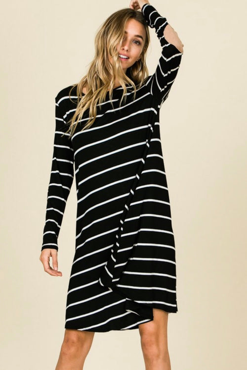 Striped & Classy Long Sleeve Swing Dress