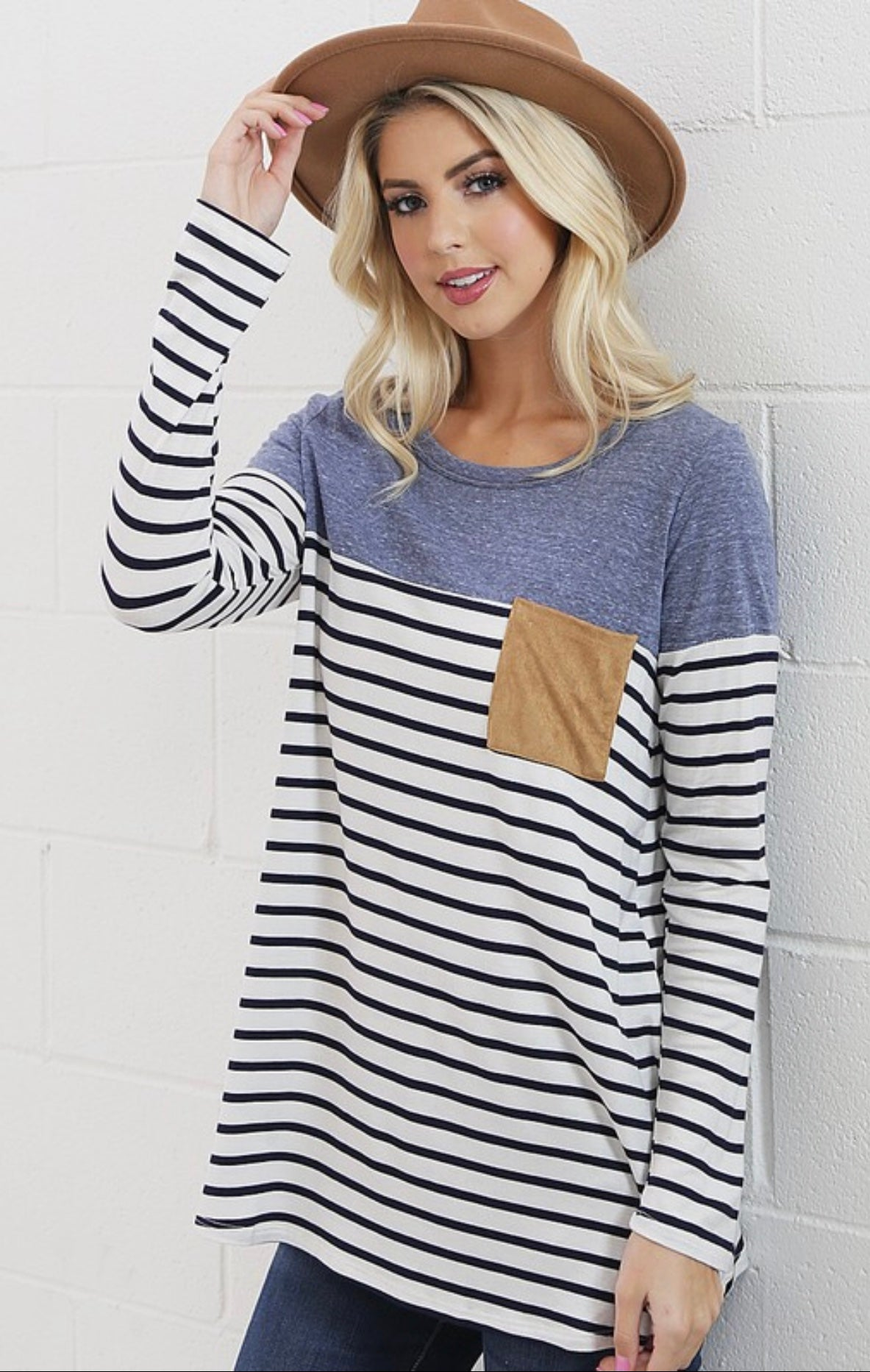 On My Way to You Striped Detail Top