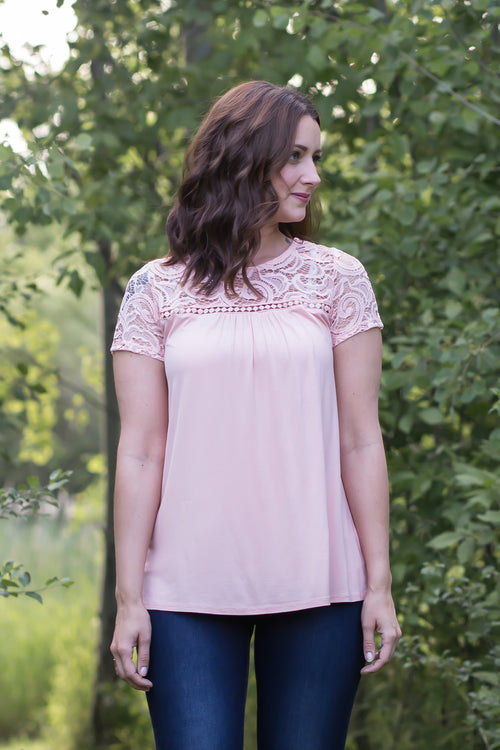Graceful Lace Top - Pink