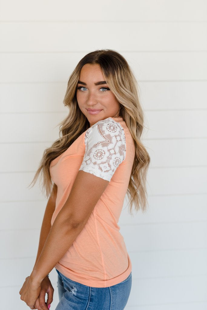 Lace Sleeve Tee- Creamsicle
