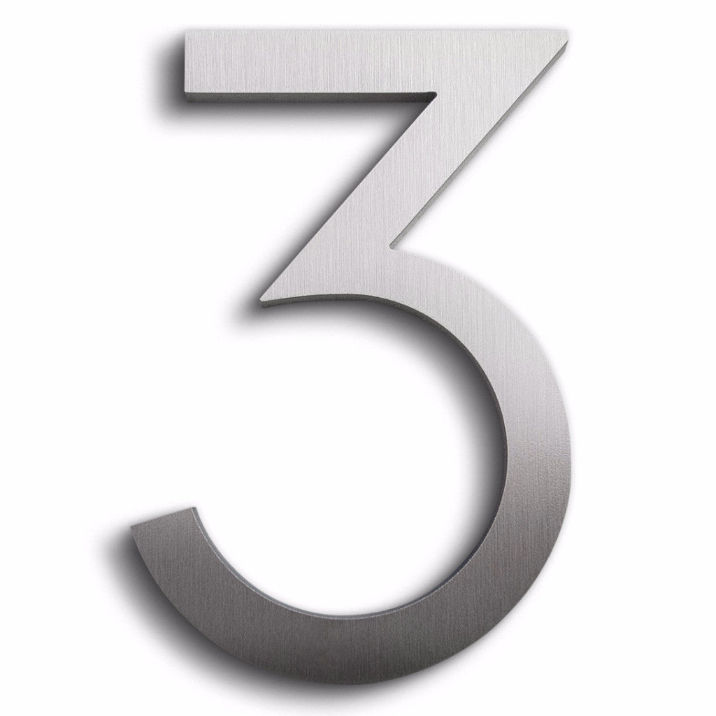 HOUSE NUMBERS MODERN FONT THREE 3 BRUSHED ALUMINUM FLOATING