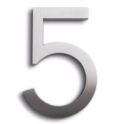 HOUSE NUMBERS MODERN FONT FIVE 5 ALUMINUM FLOATING