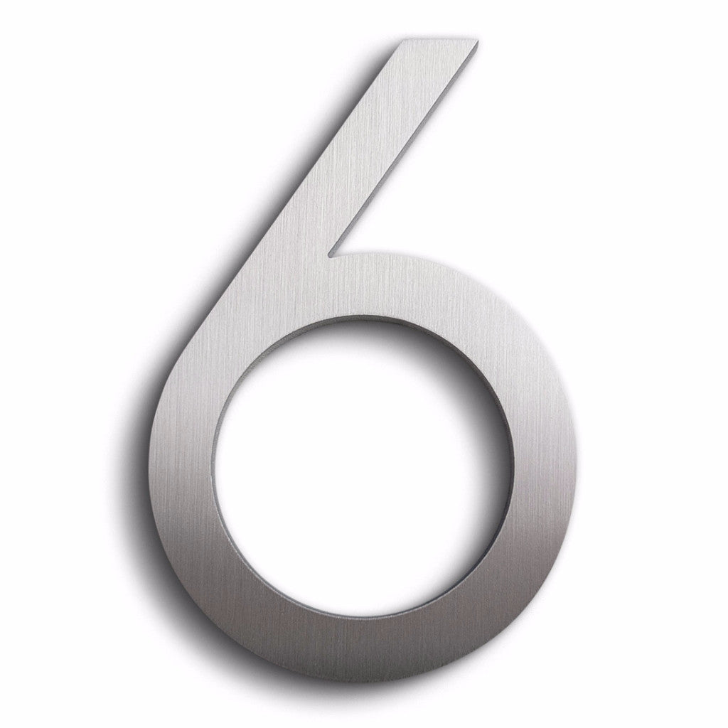 HOUSE NUMBERS MODERN FONT SIX 6 ALUMINUM FLOATING