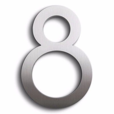 Eight modern house numbers in brushed finish aluminum.