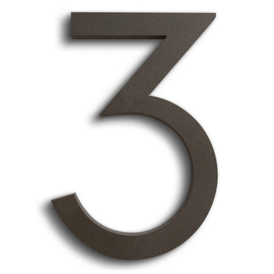 HOUSE NUMBERS MODERN FONT tHREE 3  BRONZE