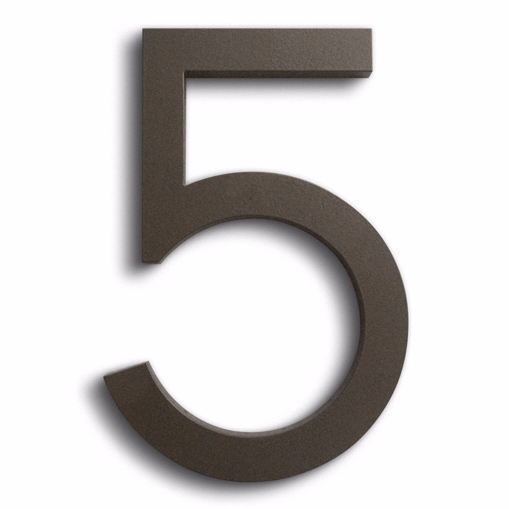 HOUSE NUMBERS MODERN FONT FIVE 5  BRONZE
