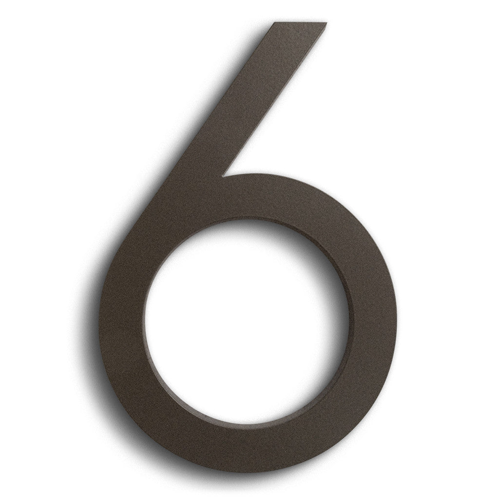 HOUSE NUMBERS MODERN FONT SIX 6  BRONZE