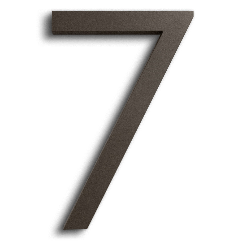 HOUSE NUMBERS MODERN FONT SEVEN 7  BRONZE