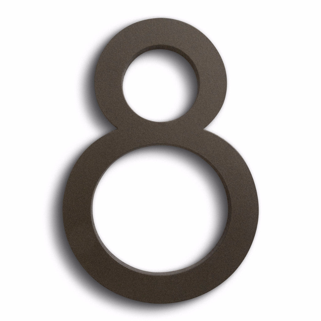 HOUSE NUMBERS MODERN FONT EIGHT 8 BRONZE