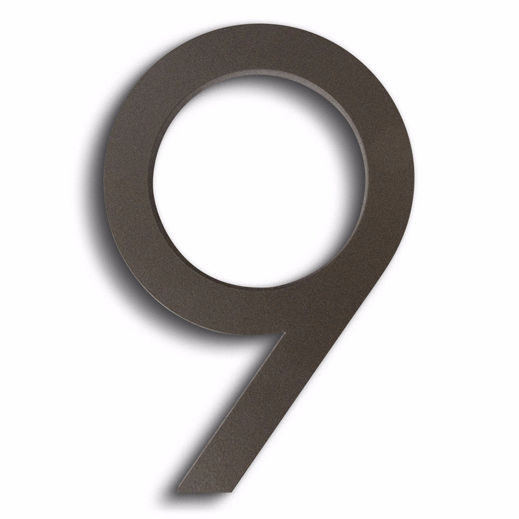 HOUSE NUMBERS MODERN FONT NINE 9 BRONZE